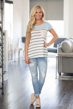 A Place In The Sun Striped Blouse Blue - The Pink Lily