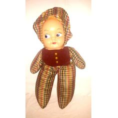 Vintage Mask Face Baby Doll Plushie,Weighted,Side Glancing Plushie Doll,Plushie,Soft Body Doll,Shelfie,Vintage,Gund,Knickerbocker,1940s by JunkYardBlonde on Etsy #gunddoll #maskfacedoll #vintagedoll #shelfie #creepycute #kitschycute #knickerbocker #rubberfaceplush #maskefaceplush #weighteddoll #plaid #checkerboard sideglancingdoll