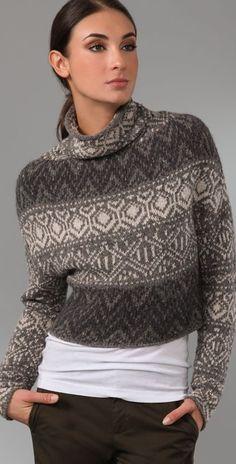 Vince Crop Intarsia Sweater | SHOPBOP