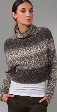 Vince Crop Intarsia Sweater   SHOPBOP