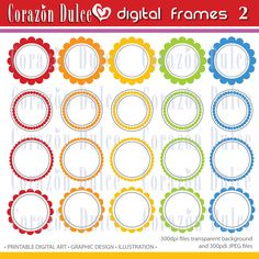 CIRCLE FRAMES Clipart 2 Original designs elemnets- For Personal and Commercial use. $3.50, via Etsy. Personalized Tags, Printing Labels, Digital Image, Gift Tags, Frames, Commercial, Card Making, Clip Art, Graphic Design