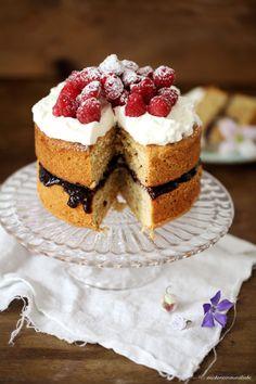 Buckwheat Cake with Raspberries and Whipped Cream (2)
