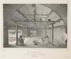 Another image by Joseph Lemercier inside of the Tongan fale(house) at Pea.