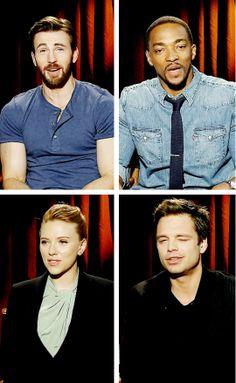 "Cast members of ""Captain America: The Winter Soldier"": Chris Evans, Anthony Mackie, Scarlett Johansson, Sebastian Stan"