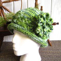 OOAK. Diamond Lace Rolled Brim Hat with Crochet by JoyfulHandKnits