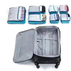 Luggage Packing Organizer Set ⛱🌎 👗It is now possible to separate cosmetics and clothes.💄 Last time, we sold out in 12 hours, so get it while you can!📢 videos organization for small spaces Luggage Packing Organizer Set Travel Luggage, Travel Bags, Luggage Packing, Backpacks For Travel, Packing A Suitcase, Best Carry On Luggage, Best Travel Backpack, Packing Clothes, Travel Wear