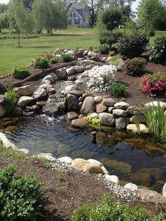 ▷ ideas and garden pond pictures for your dream garden – Backyard Landscaping - Garden Design - Dream House Modern Backyard, Ponds Backyard, Garden Ponds, Backyard Waterfalls, Koi Ponds, Backyard Ideas, Garden Stream, Outdoor Fish Ponds, Desert Backyard