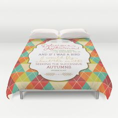 Delicious Autumn - Quote by George Eliot Art Duvet Cover by Noonday Design - $99.00