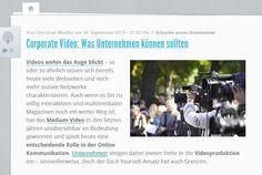 Die wichtigsten Video-Formate sollten Unternehmen selbst produzieren können. Quelle: http://karrierebibel.de/corporate-video-was-unternehmen-koennen-sollten/  Mein Blog: http://www.sozial-pr.net/