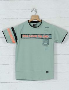 Summer Outfits, Summer Clothes, Summer Boy, Green Cotton, Boys T Shirts, Tshirts Online, Half Sleeves, Printed Cotton, Neck T Shirt