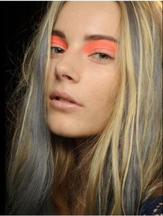 orange eyeshadow, purple hair. #makeup #beauty