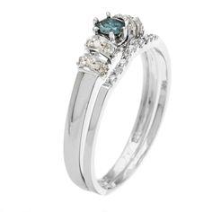14k White Gold 1/3ct TDW Blue and White Diamond Bridal Ring Set (H-I, I1-I2) - Overstock™ Shopping - Top Rated Bridal Sets