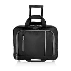 """The City business trolley. Padded microfiber document trolley, grey suede details,  2 front pockets with organizers, separated document and  laptop compartment inside, fits 17"""" laptop, with padded  shoulder strap, black wheels and trolley handle, registered  design®."""