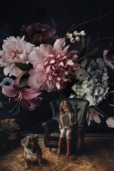 Photo wallpaper with peony and iris bouquet, bird and butterfly, self adhesive, peel and stick floral wall mural