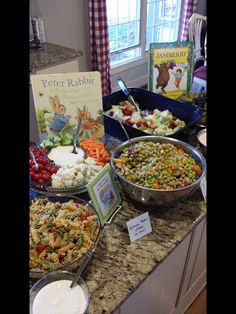 Storybook themed baby shower, golden books, food, Peter rabbit, jack and the beanstalk, jamberry