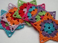6 Crochet Stars colours holidays by loisanna on Etsy, $6,00