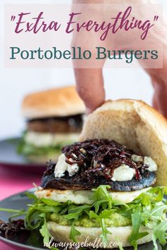"""Extra Everything"" Vegetarian Burgers - with mashed avocado, halloumi cheese, caramelized onions, chevre cheese, arugula and of course - portobello mushrooms. The perfect easy Friday night dinner! Vegetarian Main Dishes, Vegetarian Dinners, Vegetarian Burgers, Vegetarian Recipes, Healthy Recipes, Easy Main Course Recipes, Dinner Recipes Easy Quick, Brunch Recipes, Best Burger Recipe"