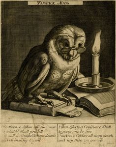 Satirical engraving with an owl wearing spectacles standing on a closed book & beside an open book (after a print by Cornelis Bloemaert), Engraving by James Collins, Date:1685-1688
