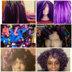 Handmade Purple, Lavendar, and Black Wig Violet Hair Colors, Shades Of Violet, Black Wig, Purple Reign, Wigs, Hair Styles, Crochet, Handmade, Beauty