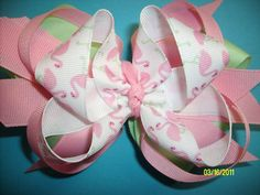 Pink and Lime Flamingo Boutique Hair Bow Girly Choice Of Clips