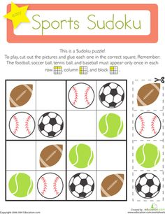 Kindergarten Patterns Worksheets: Sports Sudoku On this kindergarten math worksheet, kids use their logical reasoning and critical thinking skills to solve a fun Sudoku puzzle with a sports theme. Puzzles Für Kinder, Sudoku Puzzles, Logic Puzzles, Puzzles For Kids, Pattern Worksheets For Kindergarten, Patterning Kindergarten, Worksheets For Kids, Vive Le Sport, Critical Thinking Skills