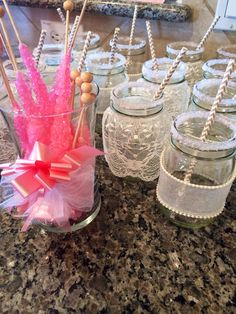 Mason jar glasses with lace and pink crystals for a friend's vintage lace wedding shower! Made by @Amber Cox