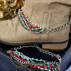 blue Friday boot chains turn any boot or shoe into a Blue Friday special. Love t… blue Friday boot chains turn any boot or shoe [. Boot Jewelry, Cowgirl Jewelry, Boot Bracelet, Ankle Bracelets, Boho Boots, Cowgirl Boots, Ibiza, Mode Country, Over Boots