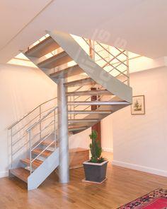 DT70 - Escalier 2/4 tournants contemporain en acier et bois. Escaliers Décors®