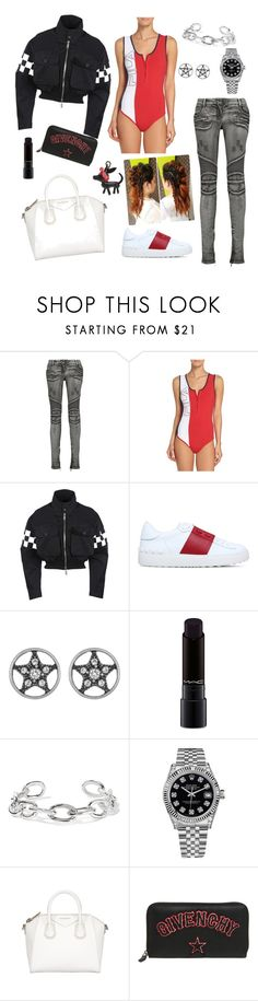 """""""Don't speak."""" by bunnisexy ❤ liked on Polyvore featuring Balmain, Fila, Dsquared2, Valentino, Marc Jacobs, MAC Cosmetics, Jennifer Fisher, Rolex, Givenchy and Kendall + Kylie"""