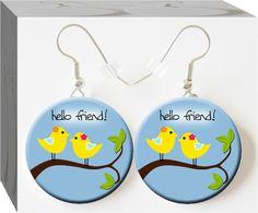 Hello Friend #Button Charm Jewelry earrings