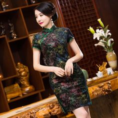TIC-TEC chinese traditional dress women cheongsam short qipao vintage velvet slim elegant oriental dresses wedding clothes P2885