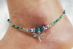 Anklet, Ankle Bracelet, Dragonfly Charm, Teal Blue Purple Peridot Green, Swarovski Crystal, Beaded, Customizable, Beach, Vacation