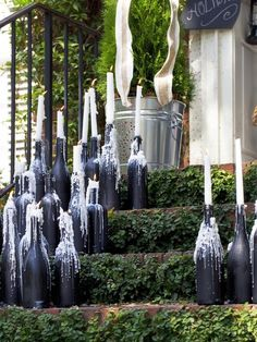 Wine Bottle Candelabras. These are so easy to make, see how: http://www.hgtv.com/handmade/how-to-make-wine-bottle-candelabras/index.html?soc=pinterest