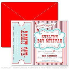 carnival invitation- blue and red, on etsy.com $20 for 10