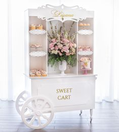Rent a sweet cart along with our treats. DM for more info and pricing. by Jey's Sugar Art Deco Buffet, Candy Buffet, Food Cart Design, Sweet Carts, Candy Cart, Pastel Mint, Sugar Art, Party Signs, Dessert Table