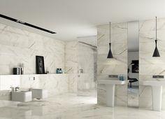 Calacatta (Roca)-Roca-1, Salle de bain, Effet effet pierre, Grès cérame émaillé, revêtement mur et sol, Surface polie, bord non rectifié, Bord rectifié