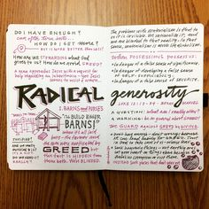 Sketchnote: Radical Generosity from Luke - message from at - more fun w/ brush marker and a magenta accent in my sketchbook. Visual Note Taking, Luke 12, Brush Markers, Sketch Notes, More Fun, Journal, Messages, Magenta, Bible