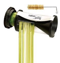 Spiral Vegetable Slicer - Best Way To Julienne A Zucchini, Carrot, Potato, Cucumber, Etc. - Hand Held Cutter - FREE Bonuses: Cleaning Brush & Two Downloadable Ebook Manuals - 2 Sizes Highest Quality Japanese Stainless Steel Blades To Enjoy Thin, Curly Veggie Spaghetti Pasta