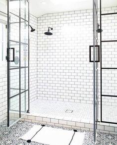 pattern floor tile, white subway tile shower with dark grout