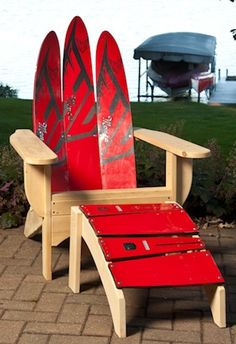 Contemporary Water Ski Chair and Ottoman -- Lakehouse Lifestyle Online Store