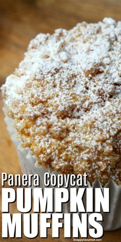 Recipes Fast Panera Copycat Pumpkin Muffins - easy from scratch muffin recipe for moist jumbo muffins and crumb streusel topping. The best for breakfast, snack, or dessert! Panera Bread Pumpkin Muffins, Best Pumpkin Muffins, Pumpkin Muffin Recipes, Pumpkin Bread, Fall Recipes, Sweet Recipes, Top Recipes, Copycat Recipes, Baking Recipes