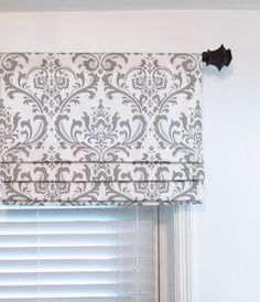 Faux Roman Shade/ Lined Mock Valance/ Premier Prints Traditions/ White-Storm Grey/ Custom Sizing Available! Custom++Gray+Faux+Roman+Shade+Lined++Damask+by+supplierofdreams Faux Roman Shades, Decorative Curtain Rods, Wood Curtain, Kitchen Window Treatments, Valance Window Treatments, Bathroom Windows, Kitchen Windows, Curtains For Bathroom Window, Farmhouse Windows