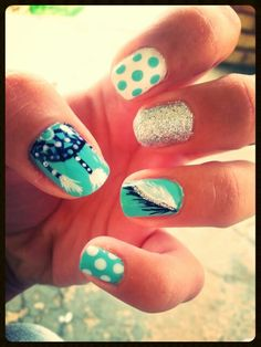 My dream catcher, feather, polka dot nails!!!!
