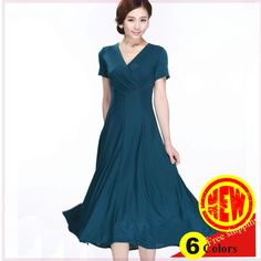 Find More Dresses Information about New arrival 6colors high quality milk silk ladies' elegant V neck short sleeve slim mid calf  long plus size dress Free shipping,High Quality silk women,China silk dress for women Suppliers, Cheap milk blues from Bear's Fashion store on Aliexpress.com