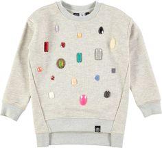 Margith - Grey Melange - grey sweatshirt with gem ornamentation