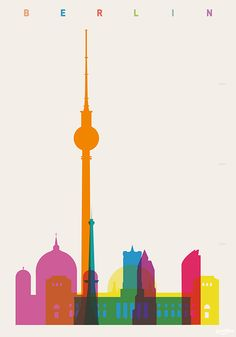 """Shapes of Berlin accurate to scale"" Grafik/Illustration als Poster und Kunstdruck von Yoni Alter bestellen. Funkturm Berlin, Berlin Germany, Germany Europe, Graphic Illustration, Graphic Art, Scale Art, World Cities, Expo, Berlin"