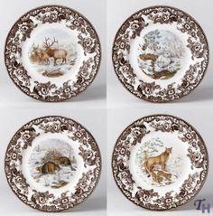 Spode Woodland American Wildlife Winter Scenes Dinner Plates