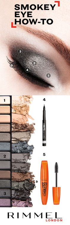 For an easy smokey eye look, follow this eye shadow how-to using Rimmel London MagnifEyes Shadow Palette 003. Top with ScandalEyes Micro Eyeliner and ScandalEyes Mascara to complete the look.