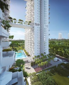 the 38-story residential complex in singapore provides high density housing with family amenities and lusciously planted community gardens.