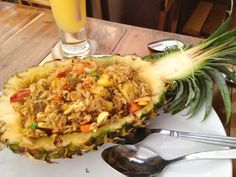 Prawn and pineapple fried rice, served with cashew nuts inside a pineapple shell - in the paradisiac island of Ko Phi Phi!